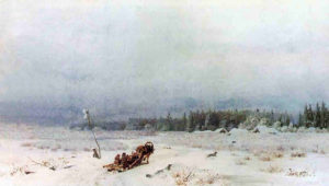 Русский пейзаж. Каменев. Зимняя дорога