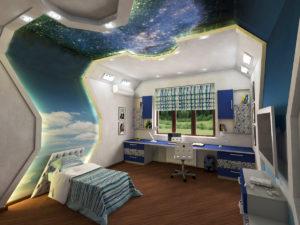 детская комната в стиле хай-тек в интерьере