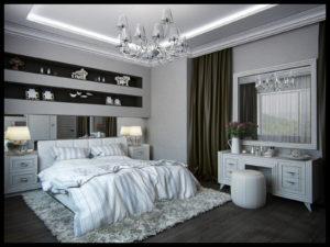 неоклассика в интерьере в спальне