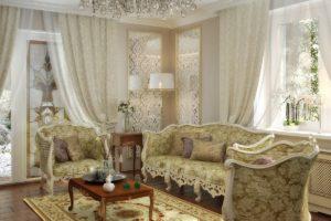 неоклассика в интерьере гостиной комнаты