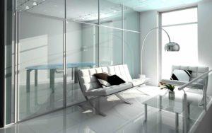 стеклянные перегородки в стиле хай-тек в интерьере