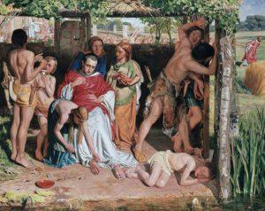 У.Х. Хант Английское семейство, обращённое в христианство, защищает проповедника этой религии от преследования друидов. 1849–1850