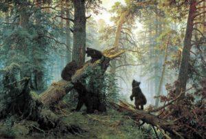 Художники-передвижники. Шишкин. Утро в сосновом лесу»
